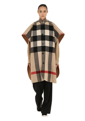 Reversible Solid & Check Wool Cape