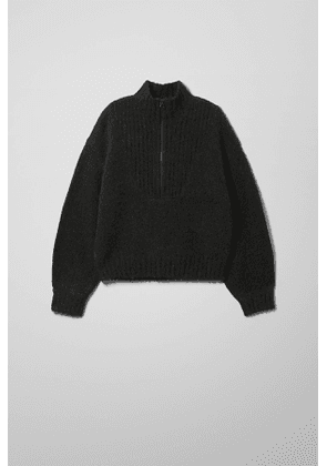 Selina Zip Sweater - Black