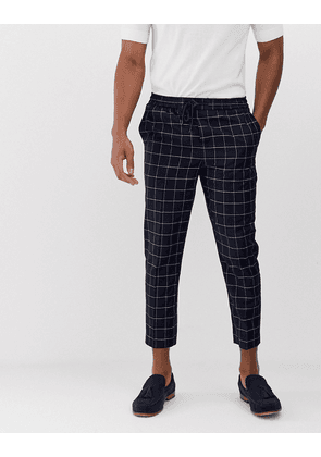 New Look smart trousers in navy grid check