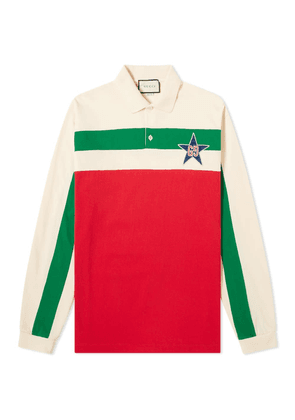 Gucci Long Sleeve Striped Logo Rugby Top
