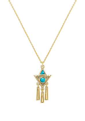 House of Harlow 1960 X REVOLVE Durango Triangle Necklace in Metallic Gold.