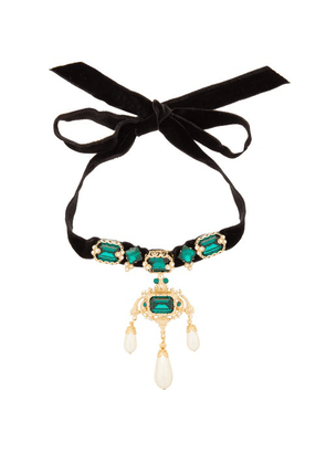 Dolce & Gabbana - Crystal And Faux Pearl Embellished Velvet Necklace - Womens - Black