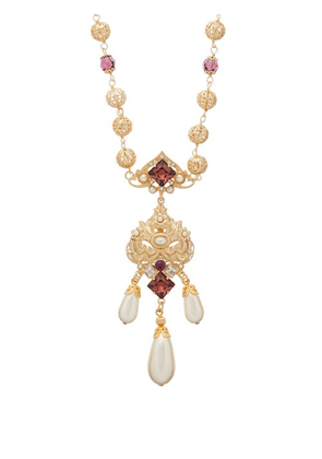 Dolce & Gabbana - Crystal And Faux Pearl Embellished Drop Necklace - Womens - Purple