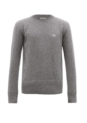 Maison Kitsuné - Fox Appliqué Wool Sweater - Mens - Grey