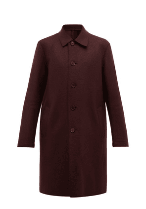 Harris Wharf London - Single Breasted Pressed Wool Overcoat - Mens - Burgundy