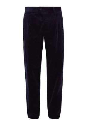 Oliver Spencer - Cotton Blend Pleated Corduroy Trousers - Mens - Blue