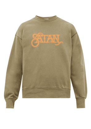 Aries - Satan Print Cotton Sweatshirt - Mens - Green