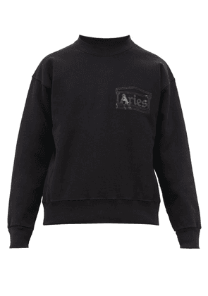 Aries - Temple Crew Neck Cotton Sweatshirt - Mens - Black