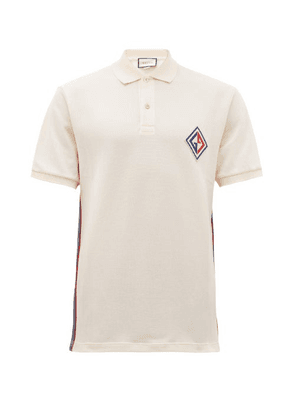 Gucci - Logo Patch Cotton Blend Polo Shirt - Mens - White Multi