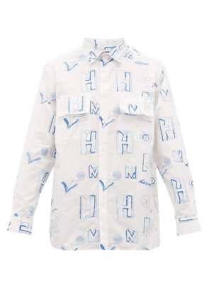Jacquemus - Felix Logo Embroidered Cotton Shirt - Mens - Blue White