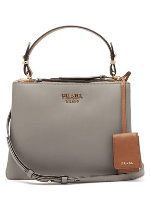Prada - Deux Leather Handbag - Womens - Grey Multi