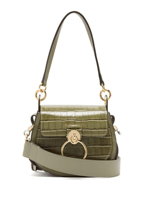 Chloé - Tess Small Crocodile Effect Leather Cross Body Bag - Womens - Khaki