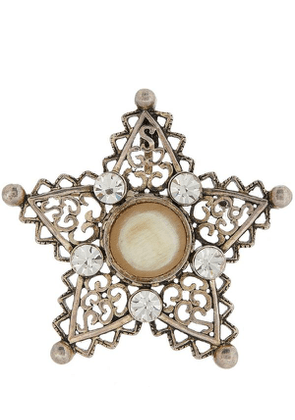 1980S Christian Dior White Metal Horn And Faux Diamond Star Brooch
