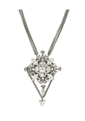 Turn Of The Century Claire Garnett White Metal Faux Diamond Pendant Necklace