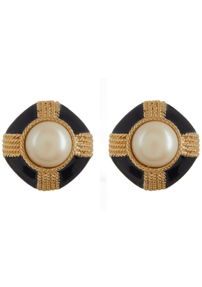 1980S Gilt Faux Pearl And Black Lacquer Clip-On Earrings