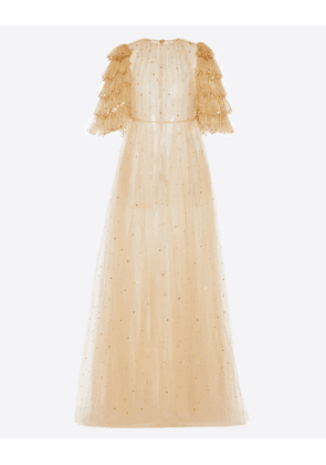 Valentino Embellished Tulle Evening Dress Women Sand 100% Poliammide 40