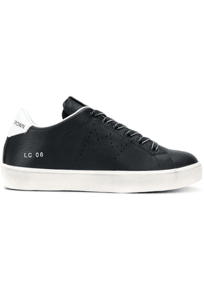 Leather Crown lace-up sneakers - Black