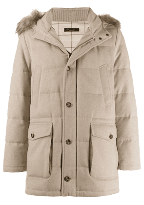 Loro Piana fur trimmed parka coat - Neutrals
