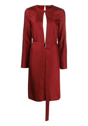 Ann Demeulemeester belted midi dress - Red