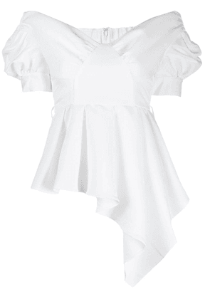 Self-Portrait asymmetric belted top - White