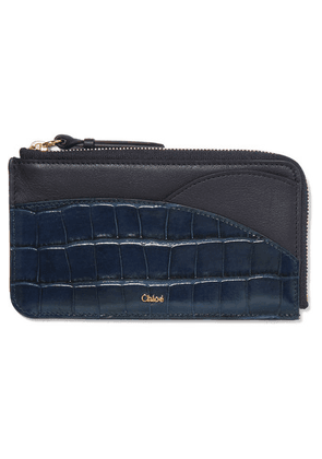 Chloé - Walden Smooth And Glossed Croc-effect Leather Cardholder - Blue
