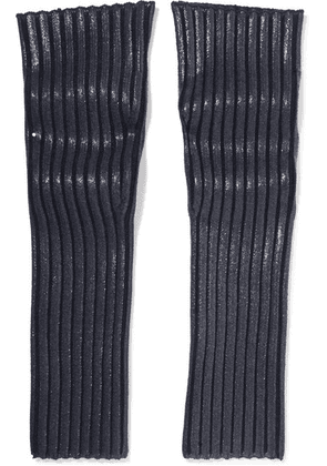 Chloé - Coated Ribbed Wool-blend Arm Warmers - Navy