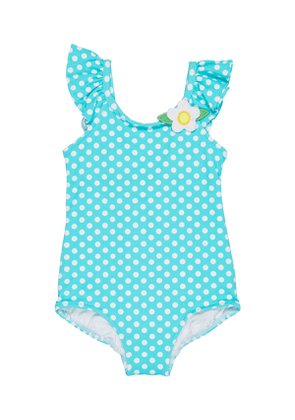 Polka-Dot Ruffle-Sleeves One-Piece Swimsuit, Size 2-4