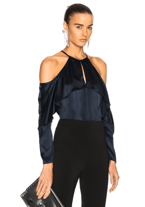 Cushnie Cold Shoulder Keyhole Top in Midnight - Blue. Size 4 (also in ).