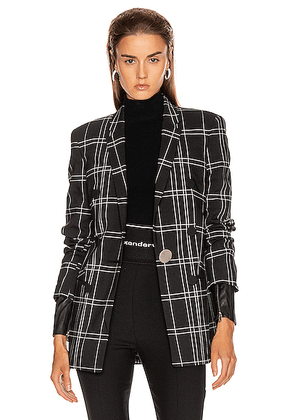 Alexander Wang Peaked Lapel Blazer with Leather Sleeves in Black & White Windowpane - Black,Plaid. Size 2 (also in 4,6,8).