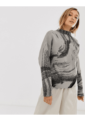 Weekday jacquard sweater in mole w black pattern
