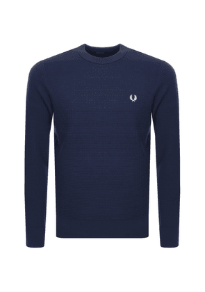 Fred Perry Waffle Crew Neck Knit Jumper Navy