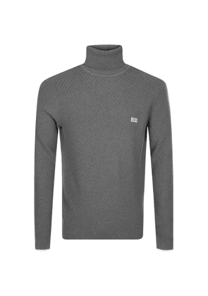 BOSS Green Roll Neck Knitted Jumper Grey