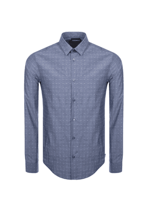 Emporio Armani Slim Fit Dotted Shirt Blue