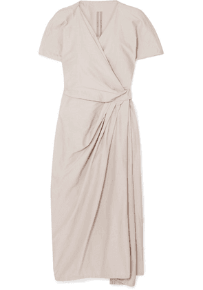 Rick Owens - Cotton And Silk-blend Voile Wrap Dress - Beige