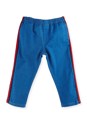 Felted Jersey Denim Track Pants, Blue/Green, Size 9-36 Months