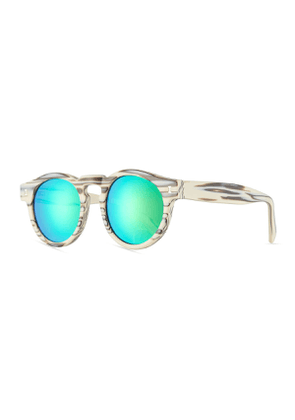 Leonard Mirrored Iridescent Round Sunglasses, White Horn