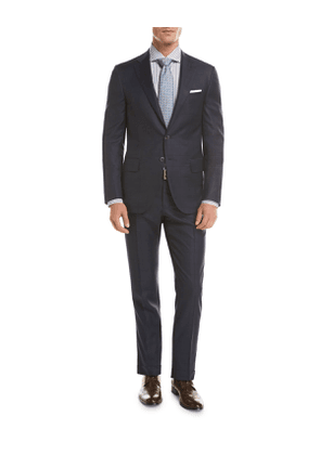Sanita Tonal Windowpane Super 160s Wool Two-Piece Suit, Navy