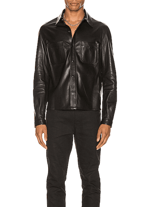 Saint Laurent Leather Shirt in Black - Black. Size 46 (also in 48,50,52).