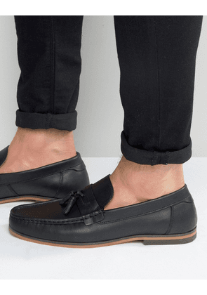 ASOS Tassel Loafers In Black Leather