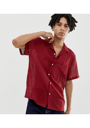 COLLUSION burnout shirt in burgundy