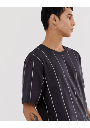 Weekday Frank vertical stripe t-shirt in navy
