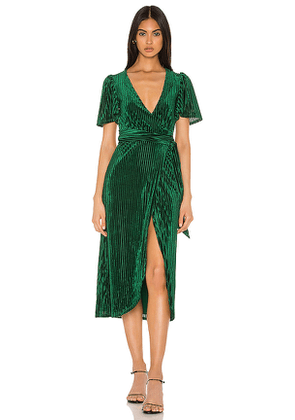 Privacy Please Rina Midi Dress in Green. Size M,S,XL,XS,XXS.