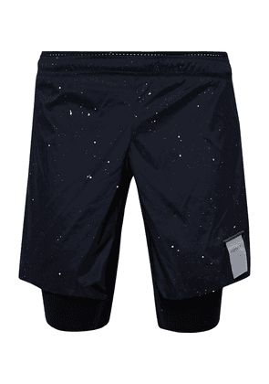 Satisfy - Trail Long Distance Layered Printed Stretch-shell And Justice Shorts - Midnight blue
