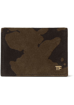 TOM FORD - Camouflage-print Suede Bifold Cardholder - Green