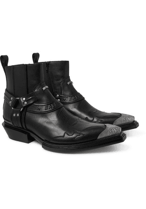 Balenciaga - Santiag Embellished Leather Boots - Black