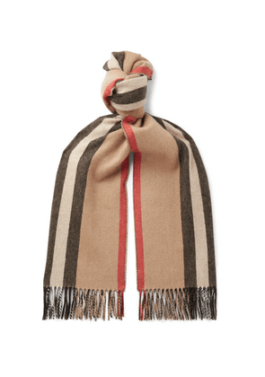 Burberry - Fringed Striped Cashmere Scarf - Neutral