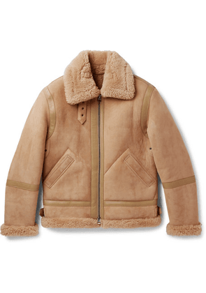 Acne Studios - Ian Leather-trimmed Shearling Jacket - Camel