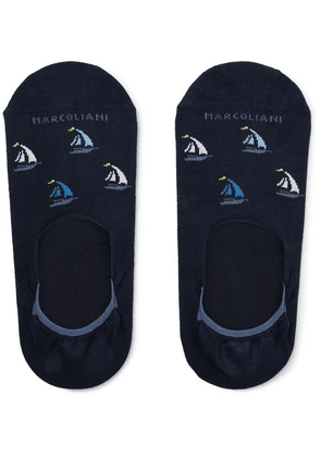 Marcoliani - Invisible Touch Intarsia Cotton-blend No-show Socks - Navy