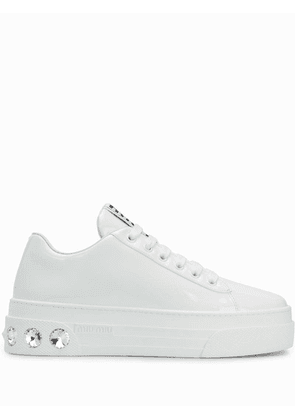 Miu Miu crystal studded low sneakers - White