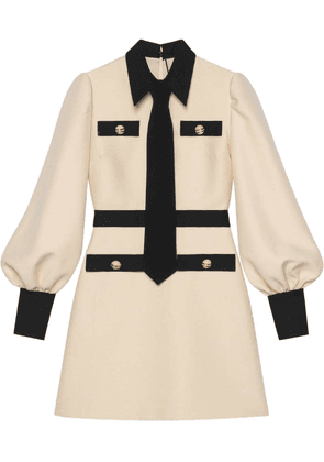 Gucci Wool silk dress with tie - White